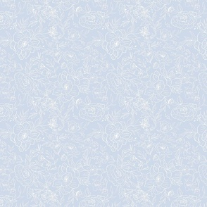White floral on blue background 8 inch