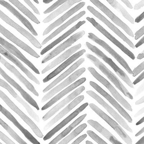 Noir herringbone - large scale watercolor brush stroke abstract grey geometric painted pattern p307
