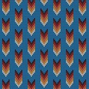 Tribal arrows boho 3D beads brown on blue