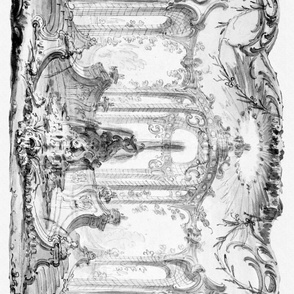 Rococo Park Frieze ~ Soft Black and White
