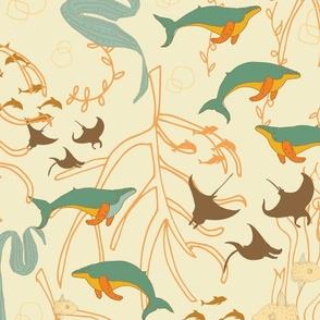 Underwater Lunch - Spoonflower Break Room Wallpaper