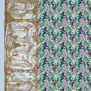 Rococo Park Border Print _ Gilt and Butterflies _ Caro Moire
