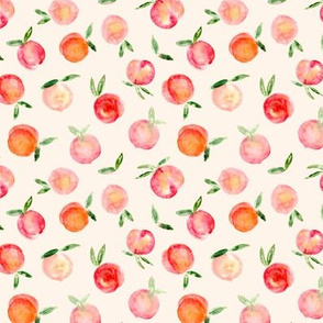 Smaller Watercolor peaches on cream - sweet summer fruits  p175