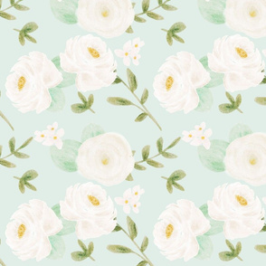 White Watercolor flowerrs on mint background 10 inch