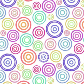Colourful circles on white