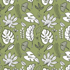 Black and White Scattered Leaves - Olive Green