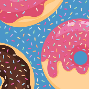Jumbo Donuts and Sprinkles on Azure Blue
