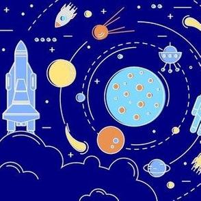 Space Rockets Orbit Planets