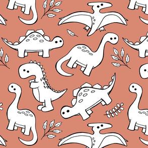 Sketchy Dinosaurs - Peach