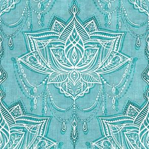 Art Nouveau Beaded Chandelier Doodle with Faux Linen Texture - mid blue