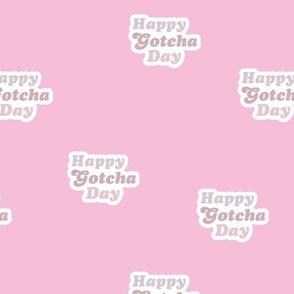 Groovy retro style happy gotcha day text design seventies boho typography pet adoption neutral soft blossom pink mauve blush girls