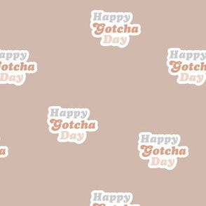 Groovy retro style happy gotcha day text design seventies boho typography pet adoption neutral soft blush pink coral beige