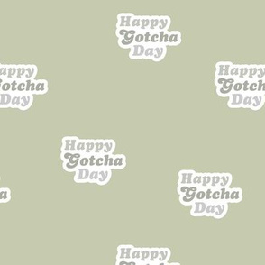 Groovy retro style happy gotcha day text design seventies boho typography pet adoption neutral mint sage green gray
