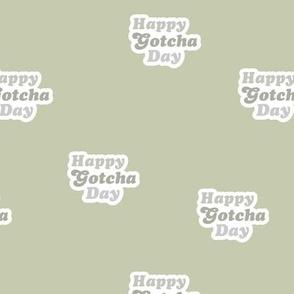 Groovy retro style happy gotcha day text design seventies boho typography pet adoption neutral mint sage green gray