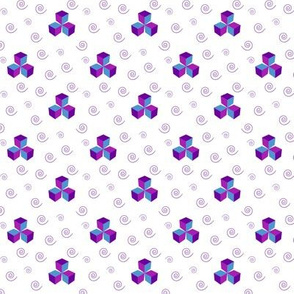 Cubes and Swirls - Purple & turquoise blue