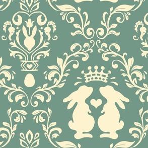 bunny wonderland  green and cream