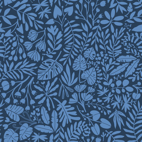 tropical botanical jungles blue on navy