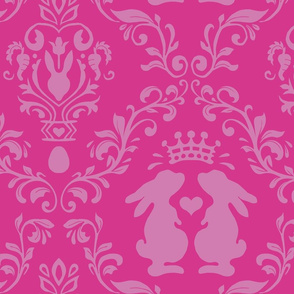 modern damask pink bunny king