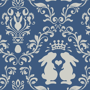 bunny wonderland damask matte blue   large jumbo scale