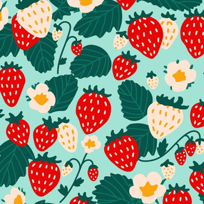 Large Strawberries Strawberry Field in red cream green on turquoise