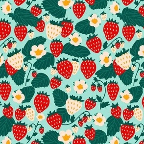 Small Strawberries Strawberry Field in Red Cream Green and Turquoise