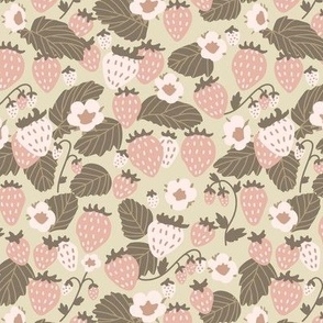 Small Soft Pink and Tender Green Strawberry Field