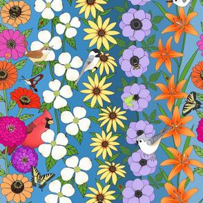 floral on Carolina blue, zinnias dogwoods rudbeckia anemone lilies, butterflies bees & birds