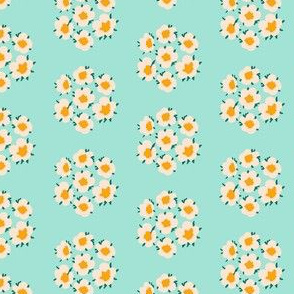 Small Blossom Flower Bouquet in Turquoise Mint and Yellow