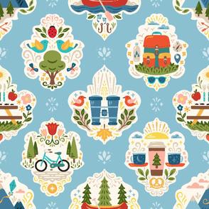 Outdoor Adventure Damask Wallpaper // © ZirkusDesign Mountains, Lake Life, River, Picnic, Nature, Birds, Bugs, Forest, Trees, Boys, Kids, Baby, Nursery