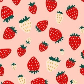 Small Tossed Strawberry Fruit in Red Cream Pink