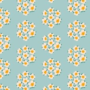 Small Dainty Blossom Floral in Cream on Blue