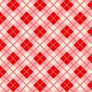 Small Strawberry shortcake red pink cream diagonal picnic plaid