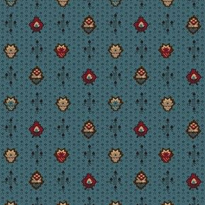 stylized flowers teal 2058-10