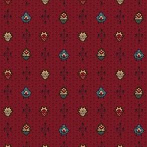 stylized flowers burgandy 2058-17