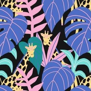 Tropical print with giraffe
