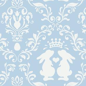 romantic bunny king damask light blue