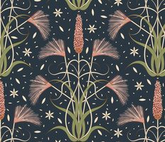 Prairie Nouveau- Wild Grasses Foxtail Barley Meadow Foxtail in Redwood Salmon Pink Isabelline Artichoke on Gunmetal Dark Cyan Blue- Extra Large Scale