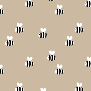 The minimalist bees cute bumble bee love spring summer design kids beige sand latte