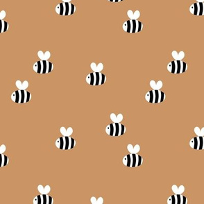The minimalist bees cute bumble bee love spring summer design kids burnt sienna cinnamon spice