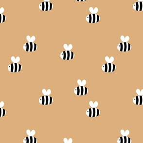 The minimalist bees cute bumble bee love spring summer design kids soft moody coral caramel