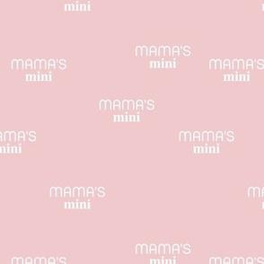 Mama's Mini - dog mom text design funny animal lovers saying on fabric pink white
