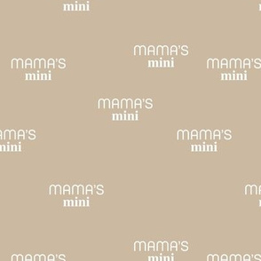 Mama's Mini - dog mom text design funny animal lovers saying on fabric moody beige white