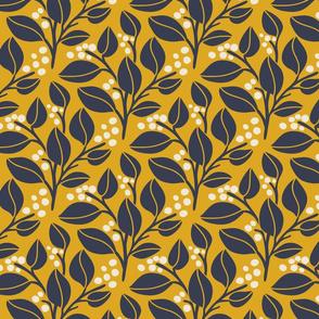 Leafy Berries - Navy, Yellow