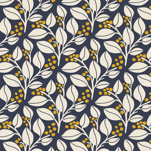 Leafy Berries - Off White, navy