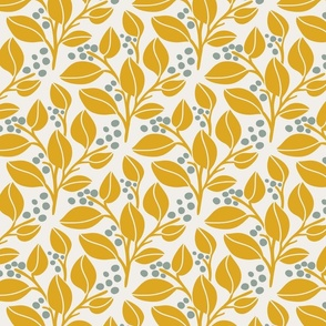Leafy Berries - Yellow, Off White