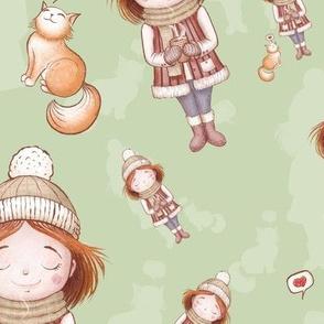 Cute girl loves cat