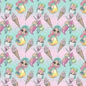 Summer Mermaid Dolls //Drinks & Ice cream // Small Size