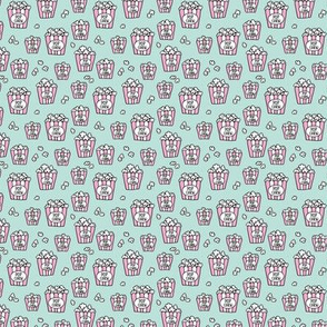 Pastel popcorn snack time pop art illustration food design mint pink mini