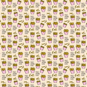 Fries before guys female friendship illustration pop art food design yellow pink girls mini