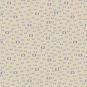 Bay of Many dark blue rectangles, squares  and circles on beige background